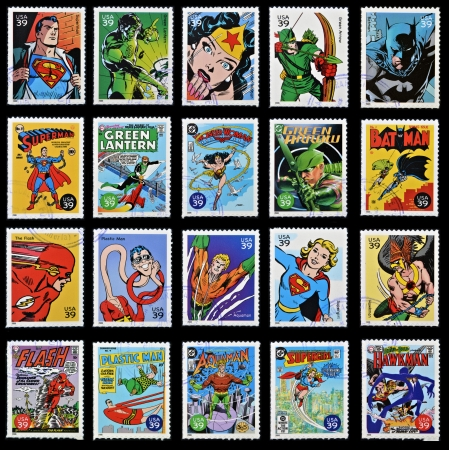 UNITED STATES OF AMERICA - CIRCA 2006: stamp collection printed in USA shows comic superhero, circa 2006