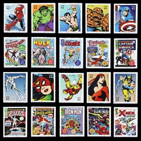 UNITED STATES OF AMERICA - CIRCA 2007: stamp collection printed in USA shows marvel comic superhero, circa 2007  Редакционное