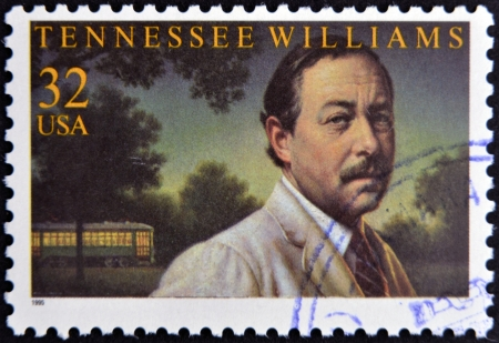 williams: UNITED STATES OF AMERICA - CIRCA 1995: A stamp printed in USA shows Tennessee Williams, circa 1995