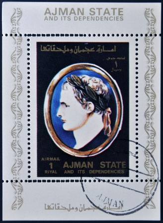 AJMAN STATE - CIRCA 1975: A stamp printed in United Arab Emirates (UAE) shows Julius Caesar, Emperor of Rome, circa 1975 Stock Photo - 13877243