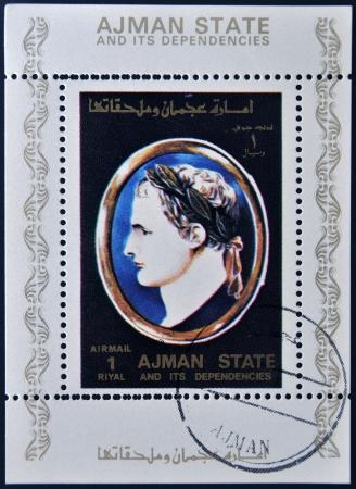 AJMAN STATE - CIRCA 1975: A stamp printed in United Arab Emirates (UAE) shows Julius Caesar, Emperor of Rome, circa 1975 Stock Photo - 13877243