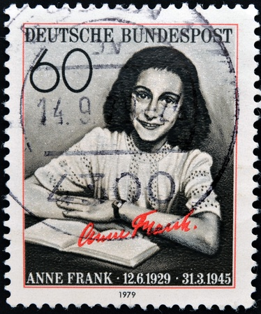 anne: GERMANY CIRCA 1979: postage stamp printed in Germany shows an image of Anne Frank, circa 1979.