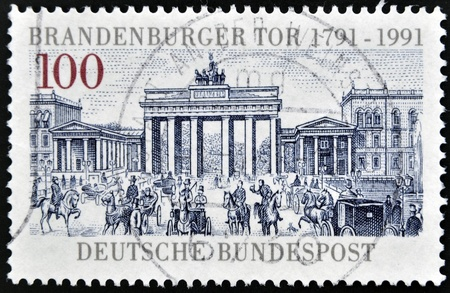 GERMANY - CIRCA 1991: A stamp printed in Germany dedicated to the 200th anniversary of the Brandenburg Gate, Berlin, circa 1991 Stock Photo - 13874782