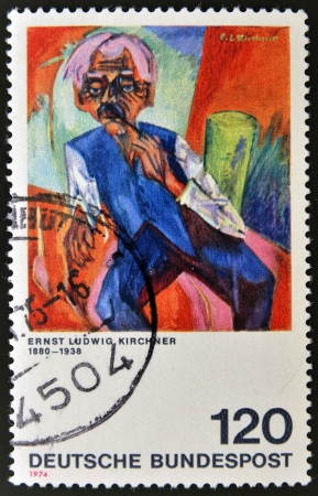 pursued: GERMANY - CIRCA 1974: A stamp printed in Germany shows painting by Ernst Ludwig Kirchner, circa 1974 Stock Photo