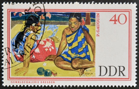tahitian: GERMANY - CIRCA 1967: A stamp printed in Germany shows Tahitian Beach by Paul Gauguin, circa 1967    Stock Photo