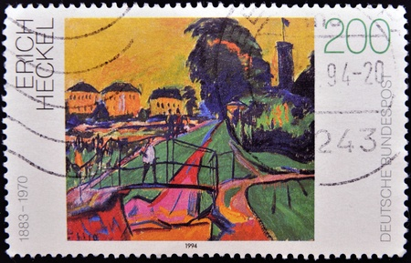 pursued: GERMANY - CIRCA 1994: A stamp printed in Germany shows Landscape by Erich Heckel, circa 1994
