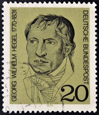 GERMANY - CIRCA 1970 A stamp printed in Germany showing portrait of German philosopher Georg Wilhelm Friedrich Hegel, circa 1970