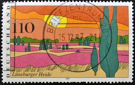 GERMANY - CIRCA 1997: stamp printed in Germany shows Luneburg Heath, circa 1997.  Stock Photo - 13874863