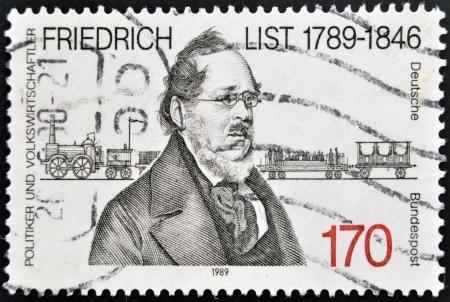 economist: GERMANY - CIRCA 1989: a stamp printed in Germany shows Friedrich List, Economist and Original European Unity Theorist, circa 1989