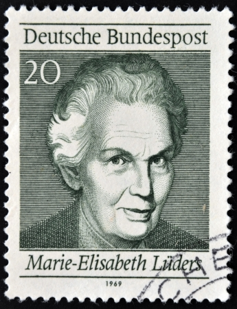 GERMANY - CIRCA 1969: A stamp printed in Germany shows Marie Elisabeth Lüders, circa 1969  Stock Photo - 13877215