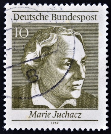 GERMANY - CIRCA 1969: A stamp printed in Germany shows Marie Juchaz, circa 1969 Stock Photo - 13877204