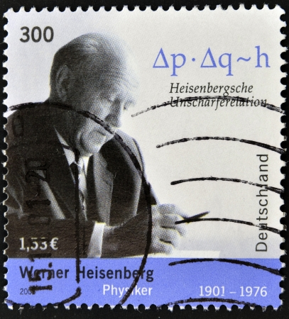 GERMANY - CIRCA 2001: A stamp printed in Germany shows Werner Heisenberg, circa 2001 Editorial