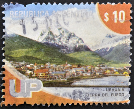 ARGENTINA - CIRCA 2000: A stamp printed in Argentina shows Ushuaia, Tierra del Fuego, circa 2000 photo