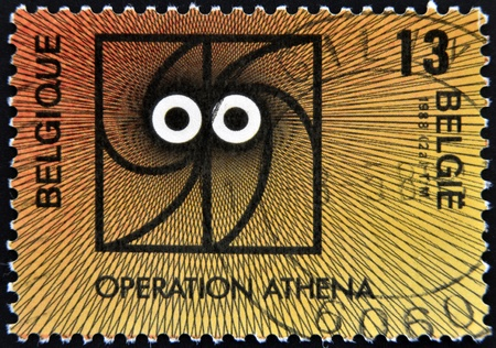 BELGIUM - CIRCA 1988: A stamp printed in Belgium dedicated to operation Athena, circa 1988 Stock Photo - 13874887