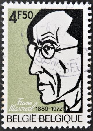 frans: BELGIUM - CIRCA 1973: A stamp printed in Belgium shows Frans Masereel, circa 1973 Editorial