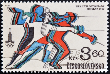 CZECHOSLOVAKIA - CIRCA 1980: A stamp printed in Czechoslovakia dedicated to 22nd Olympic Games, Moscow, shows fencing, circa 1980.