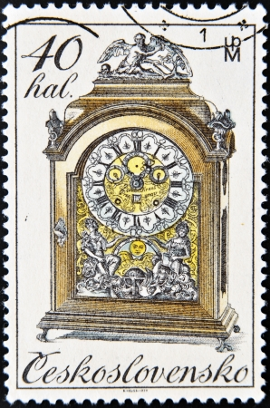 mantel: CZECHOSLOVAKIA - CIRCA 1979: A Stamp printed in Czechoslovakia shows mantel clock, circa 1979