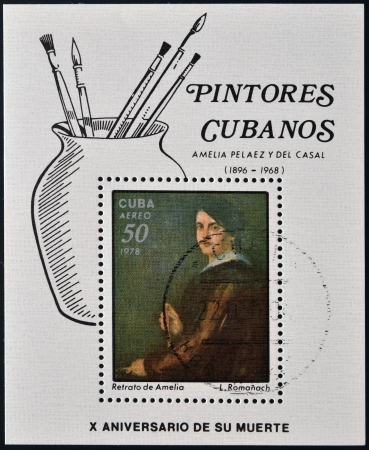 casal: CUBA - CIRCA 1978: A stamp printed in Cuba shows image of artist L.Romanach Portrait of Amelia Pelaez y Del Casal,  circa 1978