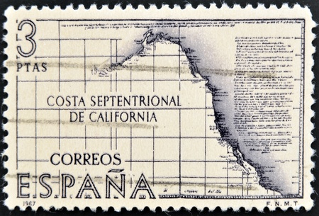 SPAIN - CIRCA 1967: A stamp printed in Spain shows the northern coast of California, circa 1967 photo