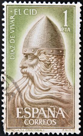 ESPAÑA - CIRCA 1962: un sello impreso en España muestra El Cid Campeador (Rodrigo Díaz de Vivar), Héroe Nacional de España, alrededor del año 1962