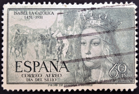 queen isabella: SPAIN - CIRCA 1951: A stamp printed in Spain shows Queen Isabel the Catholic, circa 1951
