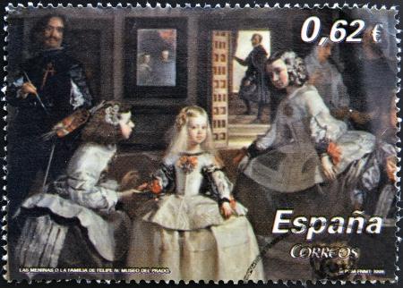 velazquez: SPAIN - CIRCA 2009: A stamp printed in Spain shows Las Meninas by Velazquez, circa 2009