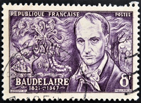 FRANCE - CIRCA 1951: A stamp printed in France shows Baudelaire, circa 1951