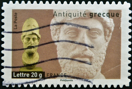 FRANCE - CIRCA  2007: A stamp printed in France dedicated to ancient Greece, shows bust of Alexander the Great, circa 2007 Stock Photo - 13877183