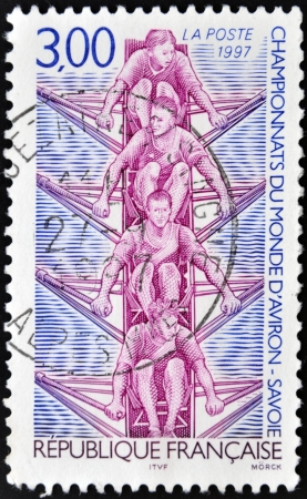 quadruple: FRANCE - CIRCA 1997: A stamp printed in France dedicated to World Rowing Championship (Savoy), circa 1997  Stock Photo