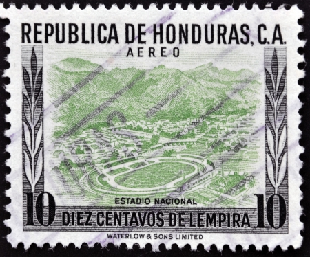 HONDURAS - CIRCA 1980: A stamp printed in Honduras shows national Stadium, circa 1980 photo