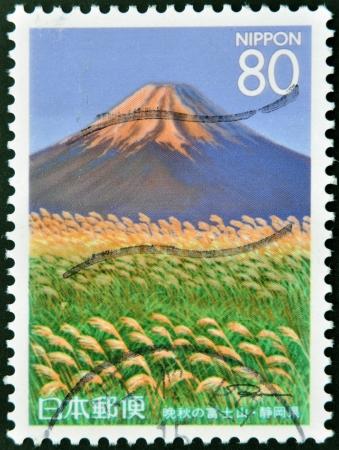 JAPAN - CIRCA 1997: A stamp printed in Japan shows Mount Fuji in Autumn, circa 1972 Stock Photo - 13874840