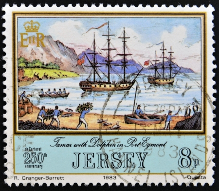 egmont: JERSEY - CIRCA 1983: A stamp printed in Jersey shows  the Tamar and Dolphin at Port Egmont on the Falkland Islands, circa 1983