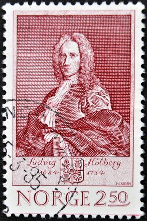 essayist: NORWAY - CIRCA 1984: A stamp printed in Norway shows Ludvig Holdberg, circa 1984