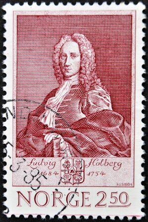 essayist: NORWAY - CIRCA 1984: A stamp printed in Norway shows Ludvig Holdberg, circa 1984