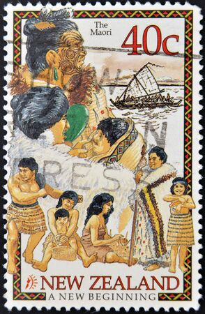 NEW ZEALAND CIRCA 1995: A stamp printed in New Zealand shows the maori, a new beginning, circa 1995 Stock Photo - 13877187
