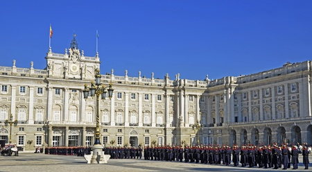 MADRID - DECEMBER 8: Military ceremony of changing of the guard at the Royal Palace on December 8, 2011 in Madrid, Spain  Stock Photo - 13877191