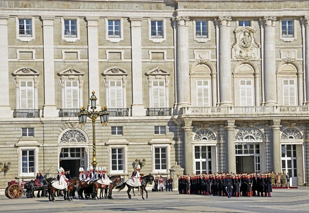 chaired: MADRID - DECEMBER 8: Military ceremony of changing of the guard at the Royal Palace chaired by the princes of Asturias, Felipe de Borbon and Letizia Ortiz on December 8, 2011 in Madrid, Spain
