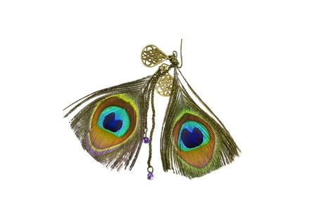 Peacock feather earrings  photo