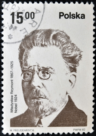 laureate: POLAND - CIRCA 1982: A stamp printed in Poland shows Wadysaw Stanisaw Reymont was a Polish novelist and the 1924 laureate of the Nobel Prize in Literature, circa 1982