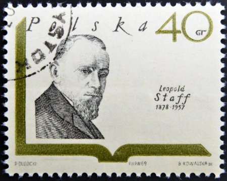 POLAND - CIRCA 1969: A stamp printed in Poland shows polish writer Leopold Staff, circa 1969