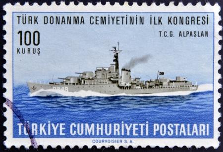 TURKEY - CIRCA 1965: A stamp printed in Turkey dedicated to First Congress of the marine community of turkey, shows T.C.G. Alpaslan, circa 1965 Stock Photo - 13874809