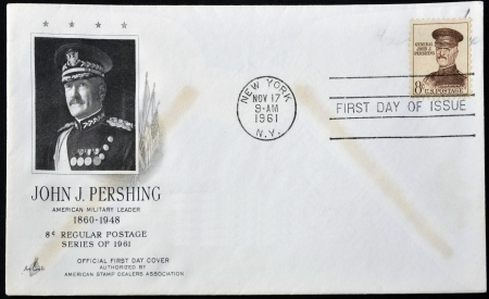expeditionary: UNITED STATES OF AMERICA - CIRCA 1961: stamp printed in  USA shows John J. Pershing, general officer in U.S. Army who led American Expeditionary Forces in World War I, circa 1961