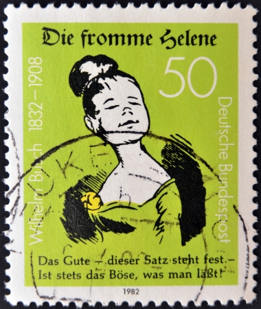 bundes: GERMANY - CIRCA 1982: A stamp printed in Germany dedicated to the 150th Birth anniversary of writer and illustrator Wilhelm Busch showing Good Helene, circa 1982.