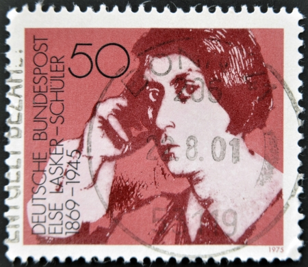else: GERMANY - CIRCA 1975: a stamp printed in Germany shows Else Lasker-Schuler, poet and playwright, circa 1975  Editorial