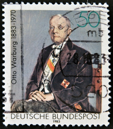 physiologist: GERMANY - CIRCA 1983: A stamp printed in Germany shows Otto Heinrich Warburg - German physiologist, medical doctor and Nobel laureate, circa 1983  Editorial