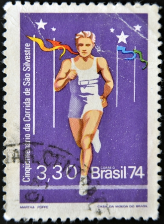 BRAZIL - CIRCA 1974: A stamp printed in Brazil dedicated to San Silvestre run, circa 1974 Stock Photo - 14137238