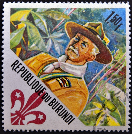 franked: BURUNDI - CIRCA 1967: A stamp printed in Burundi dedicated to boy scouts shows Lord Baden-Powell (founder), circa 1967