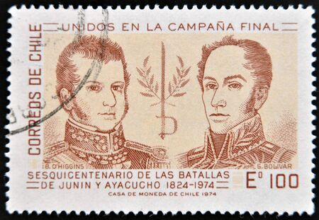 CHILE - CIRCA 1974: A stamp printed in Chile dedicated to sesquicentennial of the battle of Junin and Ayacucho, shows Simon Bolivar and Higgins, circa 1974