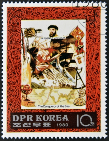 DEMOCRATIC PEOPLE'S REPUBLIC (DPR) of KOREA - CIRCA 1980: A stamp printed in North Korea shows Fernando Magellan, one stamp from series The Conqueror of sea, circa 1980  Stock Photo - 14137208