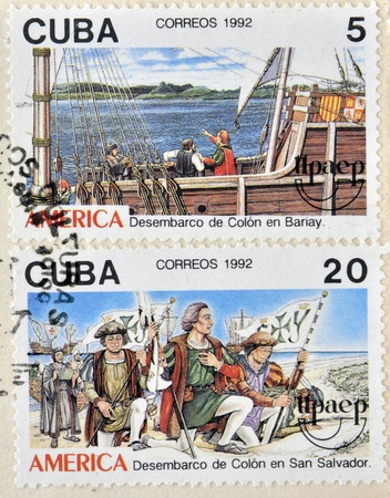 CUBA - CIRCA 1992: Stamps printed in Cuba shows Columbus landed in El Salvador and Bariay, circa 1992  Stock Photo - 14137246